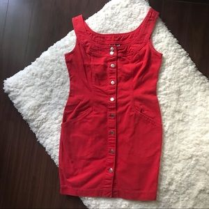 Vintage 1990s DKNY Jeans Red Denim Dress